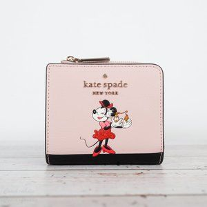 NWT Kate Spade Minnie Mouse L-zip Bifold Wallet